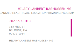 1851917066 NPI Number | HILARY LAMBERT RASMUSSEN MS | BELMONT, MA | NPI  Registry | Medical Coding Library | www.HIPAASpace.com © 2021