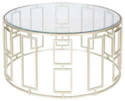 Worlds Away Jenny Silver Leafed Coffee Table Living Room Modern Round Glass  Coffee Table Metal Base