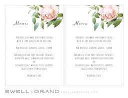 pages menu template printable wedding menu template instant download vintage