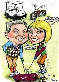 golf caricature gift framed ireland