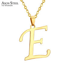 whole asonsteel women men gold color stainless steel jewelry pendant necklace letter e alphabet dangle choker chain necklace round pendant necklace gold