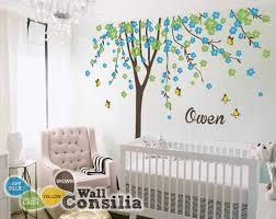 floral tree wall decal personalized name butterflies on tree wall art decals vinyl sticker with spring tree with blossoms and butterflies wall stickers for