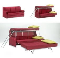 modern furniture for small spaces. red sofa transforming into triple bunk beds modern furniture for small spaces