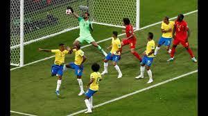 Fernandinho's OWN GOAL. Brazil 0-1 Belgium