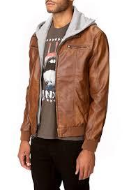 mens leather jacket with sweatshirt hood