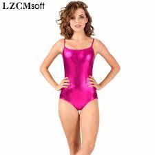 lzcmsoft shiny camisole gymnastics leotard women s sleeveless metallic leotards for dancers y tank tops backless design