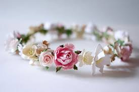 Paper Flower Headbands Paper Flower Bridal Flower Crown Headband Pink Soft Pink Etsy