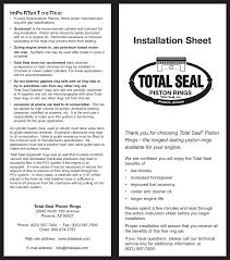 Installation Sheet Total Seal Piston Rings Manualzz Com