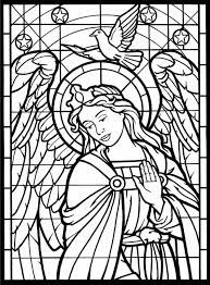 Stained Glass Coloring Pages Angel And Dove Coloringstar