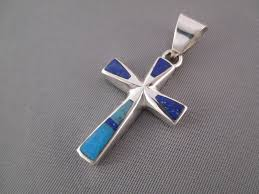 inlay cross turquoise lapis inlay cross pendant native american jewelry 145