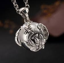whole 925 solid sterling silver buddhism prayer box locket pendant men women a2578 owl pendant necklace silver heart pendant necklace from mingring002