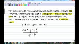 two step equation word problems
