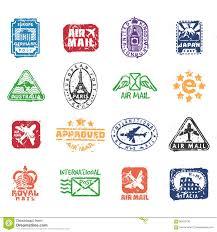 Design Print Mail Australia Vector Set Of Vintage Postage Mail Stamps Stock Vector