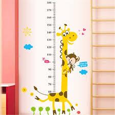 Kids Height Chart Us 2 79 30 Off Kids Height Chart Wall Sticker Home Decor Cartoon Giraffe Height Ruler Home Decoration Room Decals Wall Art Sticker Wallpaper In Wall