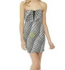 Details About Jr Girls Womens Bongo Black Gray Wavy Striped Strapless Sheath Dress S M L