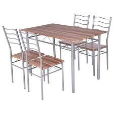 table 4 chairs. costway 5 piece dining set wood metal table and 4 chairs kitchen modern furniture