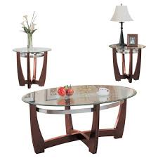 clear glass furniture. 3 Piece Baldwin Pack Coffee End Table Set Walnut And Clear Glass - ACME Furniture