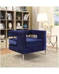 blue velvet accent chair. Meridian Carson Navy (Blue) Velvet Accent Chair (Accent Chairs) Blue V