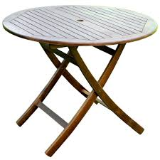 38 inch round wooden folding table with curved legs image