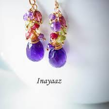 amethyst chandelier earrings purple green peridot garnet 14k gol