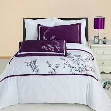 hotel black white purple embroidered egyptian cotton duvet cover set