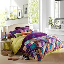 purple teal and pink yellow bohemian chic tribal style patchwork plaid and jungle themed full queen size bedding sets
