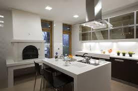 modern kitchen with black cabinets white counter and fireplace modern61 counter