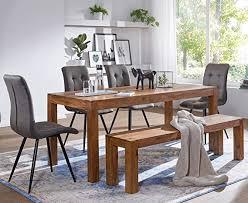 FineBuy Dining table <b>Solid wood Sheesham</b> 80 x 76 x 80 cm Design ...