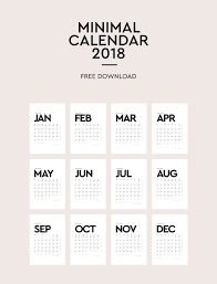Calendar Free Downloads Printable Minimal Calendar 2018 On The Blog Calendar Calendar