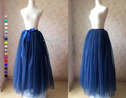maxi skirt in navy blue full tulle skirt women tutu skirt plus size maxi tutu skirt floor length tutus navy wedding bridal skirt t281