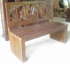 Mahogany Bench 2 Seater With Leaf Carving Back Seat Wooden Indoor Indoor Bench Furniture