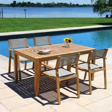 summit teak outdoor dining table with
