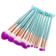 amazon iskas 10pcs mermaid makeup brush set soft nylon bristles beauty brushes kit foundation blending blush concealer contour cosmetic tools mint