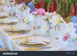 Napkin In Glass Design Elegant Dinner Table Set Silverware Napkin Stock Photo Edit