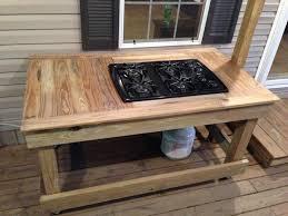 image of wood propane outdoor cooktop