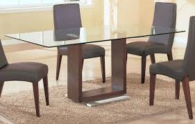 simple dining table furniture design with unique u shaped brown wood rectangle glass dining table base