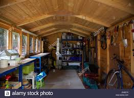 inside of wooden garden shed with roof with workbench hanging tools greenhouse lawnmower and shelves with paint and ladder