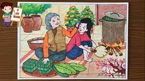 Vẽ tranh ngày tết và mùa xuân: Bà và cháu nấu bánh chưng tết | Vẽ tranh đề  tài gia đình đón tết - Hướng dẫn vẽ và tô màu tranh cho