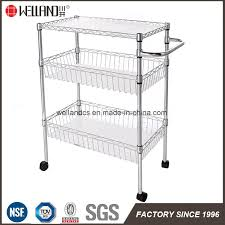 chrome metal home kitchen wire basket rack cart trolley