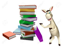 3d rendered ilration of donkey cartoon character with book stack stock ilration 53996190