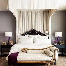 Black Velvet Bed with White Curtains