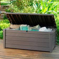 keter brightwood plastic garden storage box with seat 455 litre capacity open