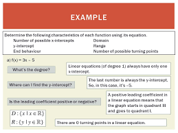 example determine the following characteristics of each function using its equation number of possible x