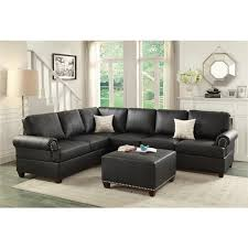 leather reversible sectional 44 black