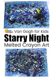 van gogh s starry night project melted crayon art for kids