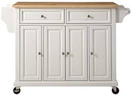 Image Countertop Amazoncom Crosley Furniture Kf30001ewh Rolling Kitchen Island With Natural Wood Top White