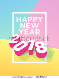 Happy New Year 2018 postcard with frame and pastel colors. Vector EPS 10.  Template