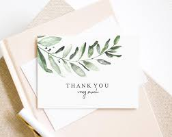 Greenery Thank You Card Wedding Thank You Template Folded Thank You Wedding Printable Tented Pdf Instant Download Bpb330_27