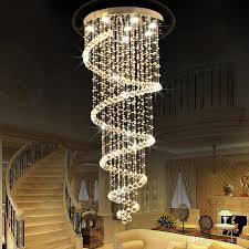 modern led spiral lustre crystal ceiling light fixtures long stair for staircase hotel foyer living room chandeliers lamp hanging lights from staircase hanging lights m4