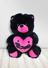 Black Teddy With Pink Heart